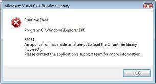Tricks to Fix Runtime Error r6034