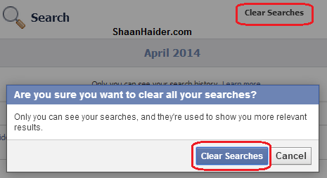 Delete Search History from Facebook