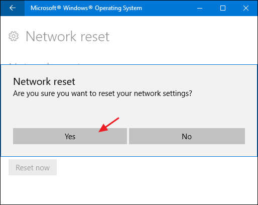 Resetting network window 10